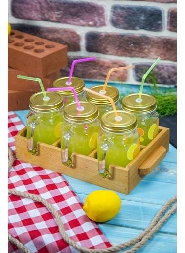 Joy Kitchen  Ahşap Tepsili Limon Kupa Seti  - 7 Parça Renkli